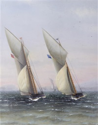 a schooner from the royal thames yacht club running down wind; a schooner and cutter neck and neck (set of 2) by charles keith miller