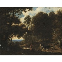 a wooded landscape with drovers watering their herd by cornelis de bie