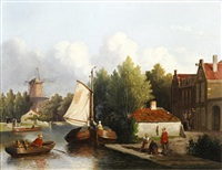 dutch river landscape with figures and barges by joseph bles