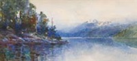 south island lake scene by isabel field