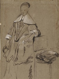 costume study for the portrait of a girl, full-length (recto); study of an arm resting on a chair, and a counterproof of a study of a standing man (verso ) by abraham lambertsz jacobsz van den tempel