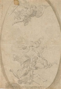 la chute des anges rebelles (+ study, wash, verso) by giuseppe simonelli