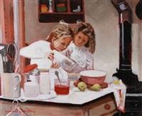girls baking by rowland davidson