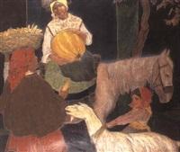 otono; recogiendo el maiz y las calabazas by carlos sobrino buhigas