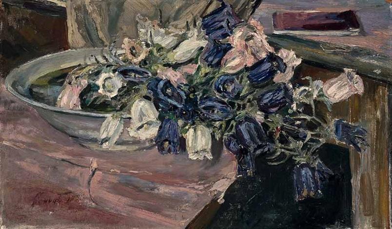 stillleben mit glockenblumen in einer schale by max slevogt