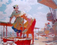 women on a construction site by ivan egorovitch voronin