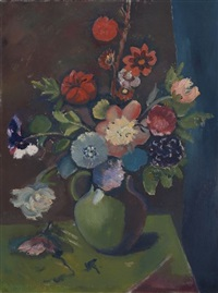 still life with flowers in a green vase (recto); country road (verso) by pranas domsaitis