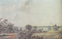 view of the hooghly river taken from the governor-general's garden house, down river from garden reach, calcutta by robert hyde colebrooke