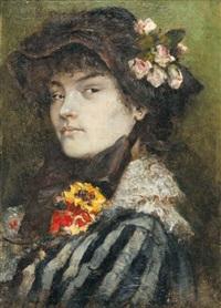 jeune femme aux fleurs by octave alfred saunier