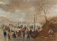 a winter landscape with figures skating on a frozen river by anthonie van stralen