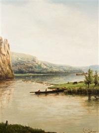 le bétail traversant la rivière sur le bac by eugene jacques hubert wolters