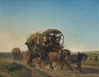 le chariot attelé sur fond de paysage by adolf alexander dillens