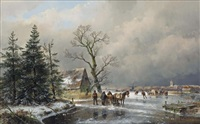 an extensive winter landscape with skaters and a horse-drawn sledge by andreas schelfhout