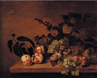 nature morte aux pêches, raisins et papillons by bartholomeus assteyn