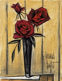 roses rouges by bernard buffet