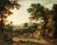 extensive italianate landscape with drovers and their animals on a track by anglo-flemish school (17)