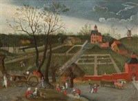 landscape with peasants walking along a road with horse drawn carts and others planting in the garden of a large manor house by jacob grimmer