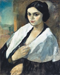 lány fehér kendõvel - girl with white scarf by endre vadász