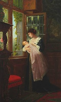 interior with a woman and her child by the window by ernst anders