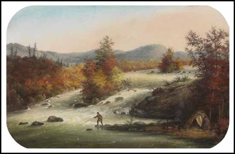 rapids at les grands calumets on the ottawa by alfred worsley holdstock