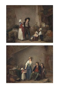 a couple with a boy pushing a girl in a cart, in an interior and a man returning from the hunt with a mother and her children, in an interior (pair) by marc antoine bilcoq