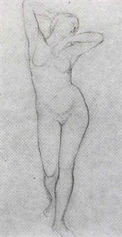 a standing female nude by eugène emmanuel amaury-duval (pineu)