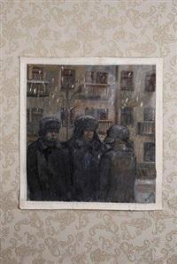 trois personnages sous la neige by michel roginsky