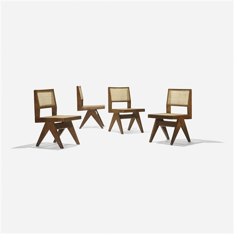 chairs from chandigarh set of 4 by pierre jeanneret
