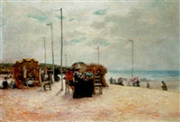 on the beach by félix armand marie jobbe-duval