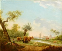 dutch landscape with cows by frans swagers