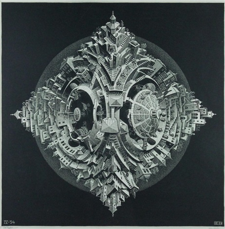 tetrahedral planetoid by m. c. escher