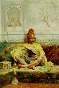 seated bashi-bazouk by charles bargue