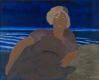 femme dans les dunes, mer phosphorescente by léon spilliaert