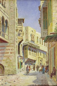 menschenbelebte gasse in kairo by gustav rockholtz