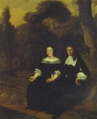 portrait of a gentleman and his wife seated in a wood by herman mijnerts doncker
