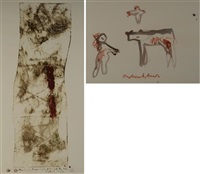 cow, bird, human figure and an untitled print (2 works) by anton heyboer