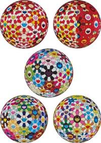 flowerball – goldfish colors (3d); flowerball red (3d) the magic flute; flowerball blood (3-d) vii; flower ball (3d) kindergarten; flowerball cosmos (3d) (5 works) by takashi murakami