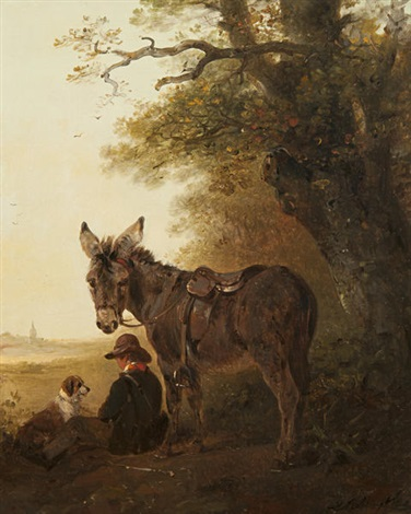 a boy with donkey and dog resting beneath an old oak tree by edward robert smythe