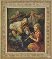 genre scene of four musicians by edmund f. ward