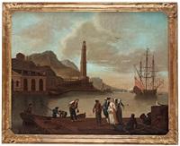 sydländsk hamn med figurstaffage by johan nils asplind