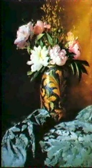 peonies in a vase by carlo grossi
