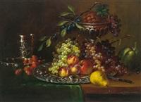 stilleben mit weintrauben, erdbeeren und ananas by eduard huber-andorf