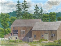 ontario barn with pines by j. stanford perrott