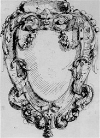 a cartouche with grotesque masks and foliage decoration by mauro antonio (maurino) tesi