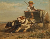 jeune garçon dans un chariot tiré par deux chiens by henriette ronner-knip