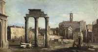 the forum with the temple of castor and pollux, rome by bernardo bellotto