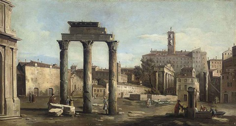 the forum with the temple of castor and pollux rome by bernardo bellotto