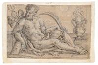 figura allegorica con caduceo, ramo di palma e braciere by aureliano milani
