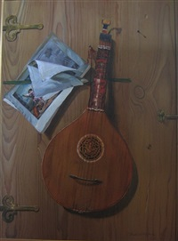 trompe l'oeil lutes (+ another; pair) by frederick victor bailey