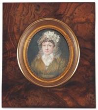 portrait de madame huy de thys en robe de soie verte coiffée d'un important bonnet de dentelle et portant la miniature en broche de son fils by louis marie autissier